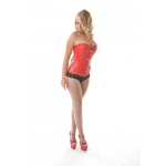 Vixen Red Leather Overbust  Corset *